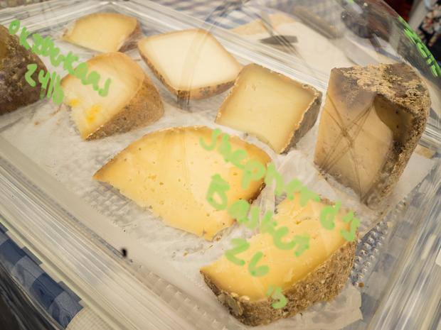 A close-up of Vallery Shepherd Creamery's cheese being sold at the Rockefeller Center Greenmarket.