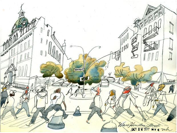 A Marcellus Hall illustration of Houston St.
