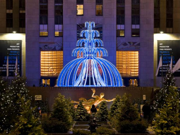 A close-up of Noble and Webster's incredible 35 foot high Electric Fountain at Rockefeller Center, which contains blue neon tubing to light up the fountain.