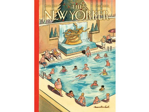 A Marcellus Hall illustration for The New Yorker of a swimming pool where the ice skating rink is at Rock Center.