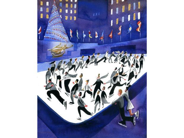 An illustration of people ice skating at Rockefeller Center.