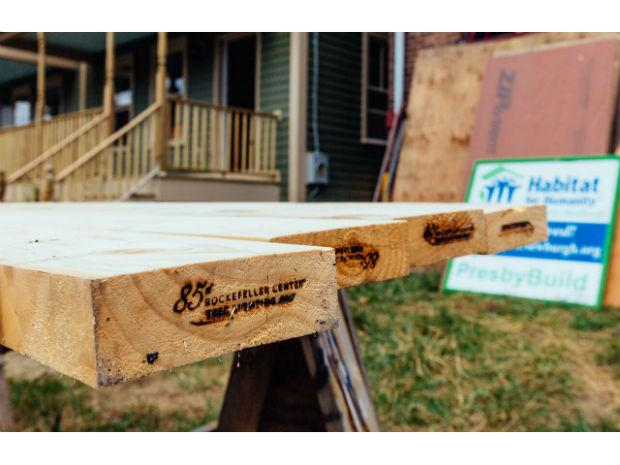 A photo of the wood from the 85th Rockefeller Christmas tree being used for a Habitat for Humanity project.