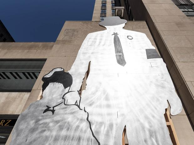 "A view of Paulo Nazareth's piece entitiled ""DRY CUT"" in the Frieze installation at Rockefeller Center."