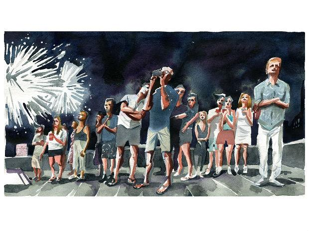 A Marcellus Hall illustration of a crowd of people watching fireworks.