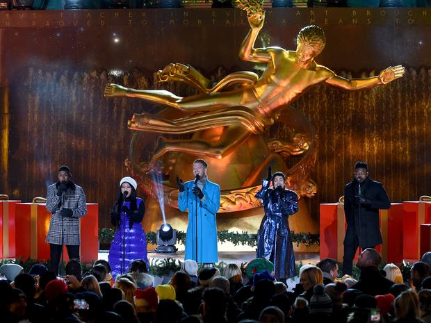 The Pentatonix performing at the Rockefeller Center Tree Lighting ceremony.