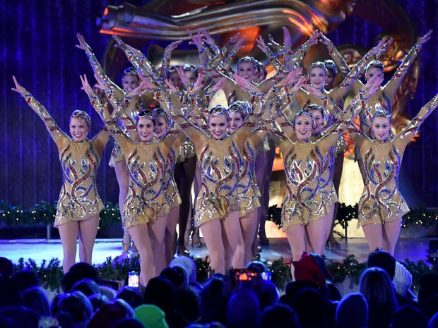 "Radio City's own Rockettes performed their new ""Christmas Lights"" finale, at the lighting of the christmas tree."