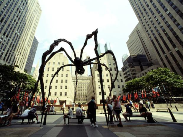 A view of Louise Bourgeois's gigantic bronze spider sculpture at Rockefeller Center.