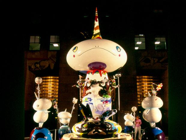 """A photo of Takashi Murakami's """"Reversed Double Helix"""" display at Rock Center."""