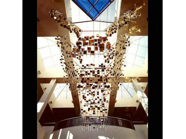 A photo of Ihara's hanging sculpture in the Colorado Springs Airport in 1994.