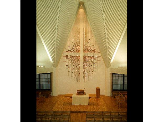A photo from 1995 of the Ikenoue Church in Tokyo, Japan.