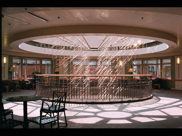 A photo of Ihara's hanging sculpture in the Tufts Medical Center in Massachusetts in 2000.