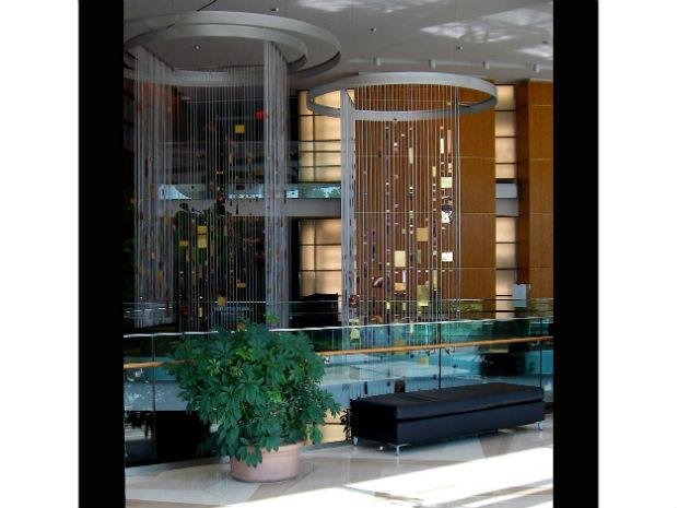 A photo of two hanging sculptures in the 101 Consittuion Avenue building in Washington, D.C. in 2002.