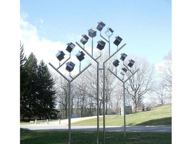 A photo of Ihara's Wind Cube 3 in the deCordova Sculpture Park and Museum in Lincoln, Massachusetts in 2015.
