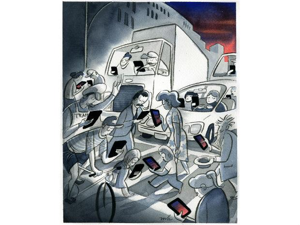A political cartoon of people walking and driving in NYC, with their eyes glued to their phone.