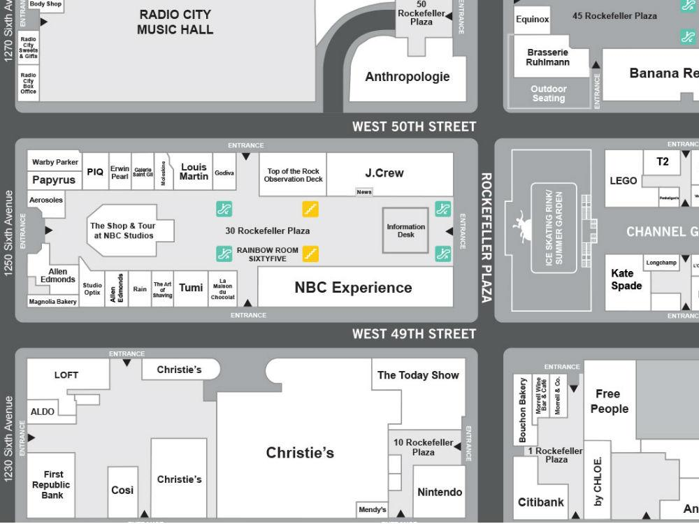 Map Of New York Rockefeller Center.Guide To Rockefeller Center Nyc Sights Tours Art Map Of Buildings